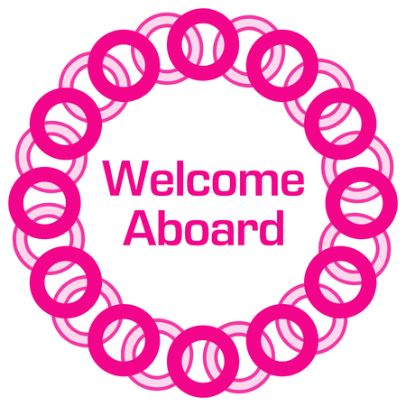 56862990 - welcome aboard pink circular rings background